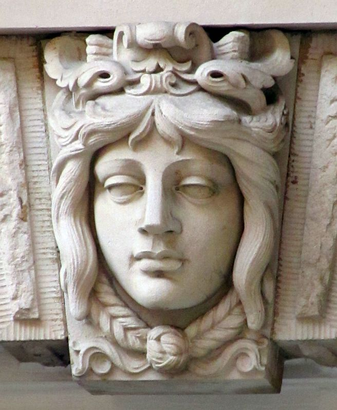 Art Nouveau Female Face in Aged Sandstone effect Garden Decor  Wall Decor.