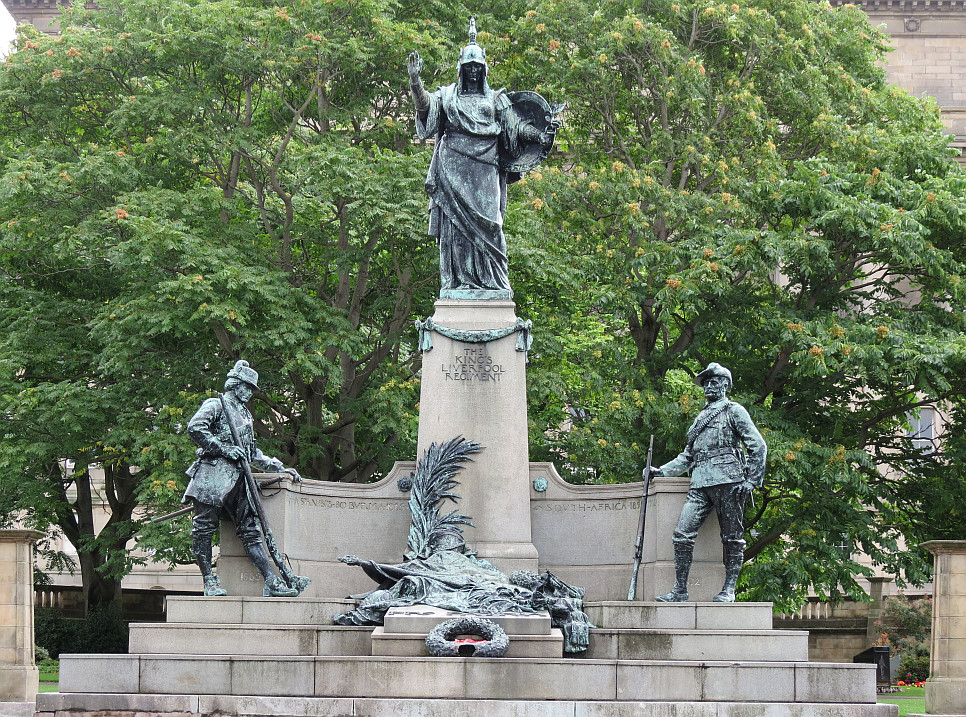 The Kingu0027s Liverpool Regiment Monument Is The Centrepiece Of The Gardens.  The Main Frontage Of The Large Portland Stone Construction, Facing Outwards  From ...